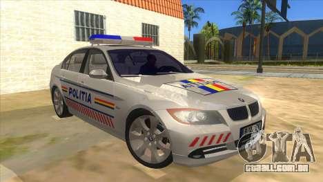 BMW 330XD Romania Police para GTA San Andreas vista traseira