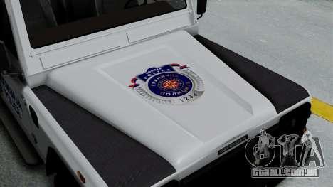 Land Rover Defender Serbian Border Police para GTA San Andreas vista traseira