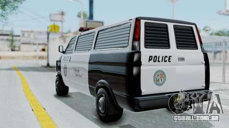 GTA 5 Declasse Burrito Police Transport IVF para GTA San Andreas esquerda vista