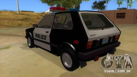 Yugo GV Police para GTA San Andreas traseira esquerda vista
