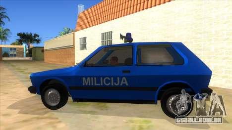 Yugo Koral Police para GTA San Andreas esquerda vista
