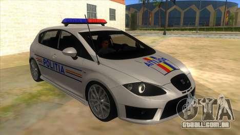 Seat Leon Cupra Romania Police para GTA San Andreas vista traseira