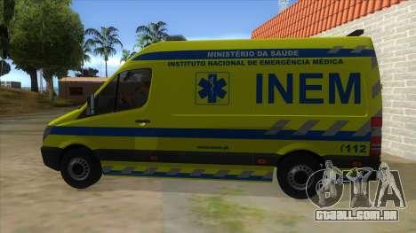 Mercedes-Benz Sprinter INEM Ambulance para GTA San Andreas esquerda vista