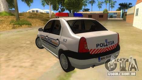 Dacia Logan Romania Police para GTA San Andreas traseira esquerda vista