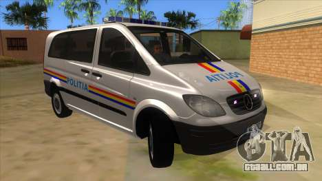 Mercedes Benz Vito Romania Police para GTA San Andreas vista traseira
