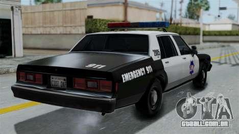 Chevrolet Impala 1985 SFPD para GTA San Andreas esquerda vista