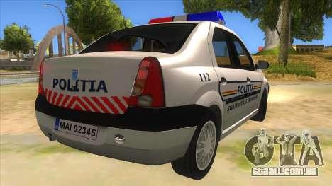 Dacia Logan Romania Police para GTA San Andreas vista direita