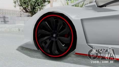 GTA 5 Zentorno Tron para GTA San Andreas traseira esquerda vista