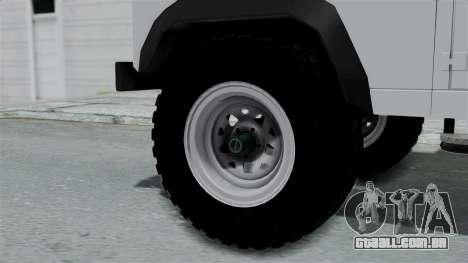Land Rover Defender Serbian Border Police para GTA San Andreas traseira esquerda vista