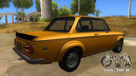 1974 BMW 2002 turbo v1.1 para GTA San Andreas vista direita