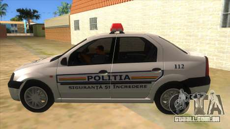 Dacia Logan Romania Police para GTA San Andreas esquerda vista