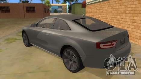 Audi S5 Sedan V8 para GTA San Andreas traseira esquerda vista