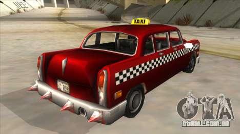 GTA3 Borgnine Cab para GTA San Andreas traseira esquerda vista