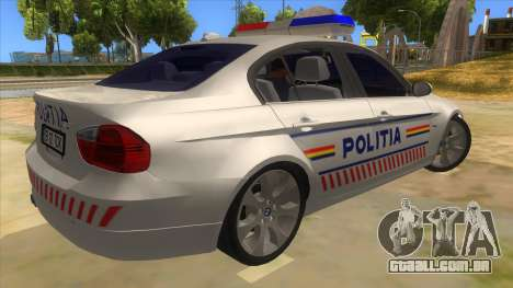 BMW 330XD Romania Police para GTA San Andreas vista direita