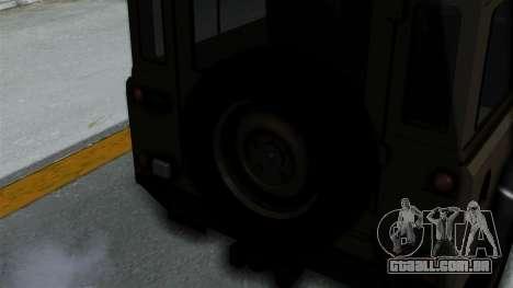 Land Rover Defender Vojno Vozilo para GTA San Andreas vista traseira