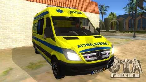Mercedes-Benz Sprinter INEM Ambulance para GTA San Andreas vista traseira