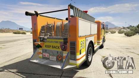 GTA 5 Los Angeles Fire Truck traseira vista lateral esquerda
