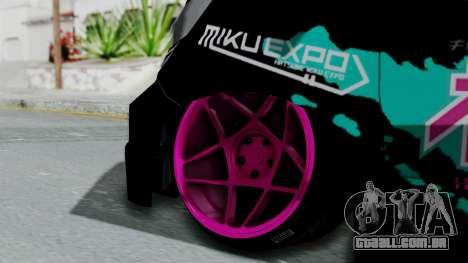 Toyota Vellfire Miku Pocky Exhaust v2 para GTA San Andreas traseira esquerda vista