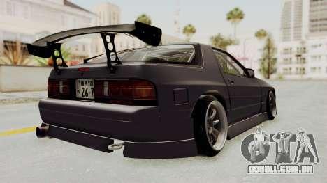 Mazda RX-7 1990 (FC3S) Cordelia Glauca Itasha para GTA San Andreas traseira esquerda vista