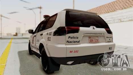 Mitsubishi Pajero Policia Nacional Paraguaya para GTA San Andreas esquerda vista