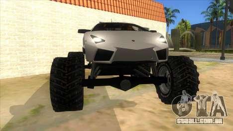 Lamborghini Reventon Monster Truck para GTA San Andreas vista traseira
