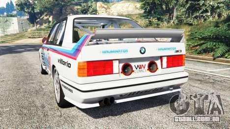 GTA 5 BMW M3 (E30) 1991 v1.3 traseira vista lateral esquerda