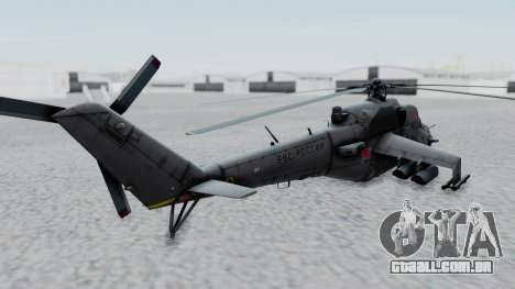 Mi-24V Russian Air Force 39 para GTA San Andreas traseira esquerda vista