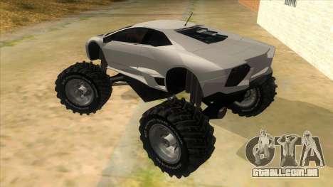 Lamborghini Reventon Monster Truck para GTA San Andreas traseira esquerda vista