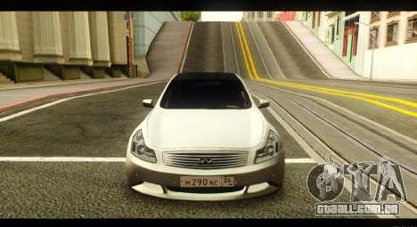 Infiniti G37 para GTA San Andreas vista traseira