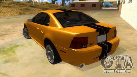 2003 Ford Mustang para GTA San Andreas traseira esquerda vista