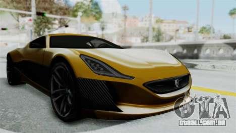 Rimac Concept One para GTA San Andreas vista direita