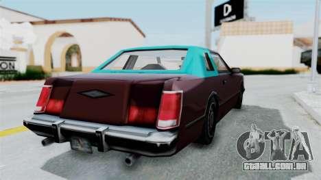 Beta VC Cougar para GTA San Andreas esquerda vista
