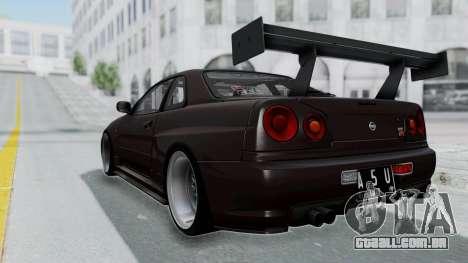 Nissan Skyline R34 GTR 2002 V-Spec II S-Tune para GTA San Andreas esquerda vista