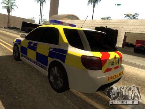 SAAB 9-2 Aero Turbo Generic UK Police para GTA San Andreas traseira esquerda vista