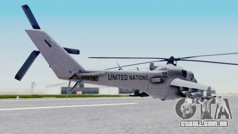 Mi-24V United Nations 032 para GTA San Andreas esquerda vista