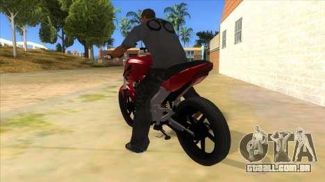 Honda Twister Stunt para GTA San Andreas traseira esquerda vista