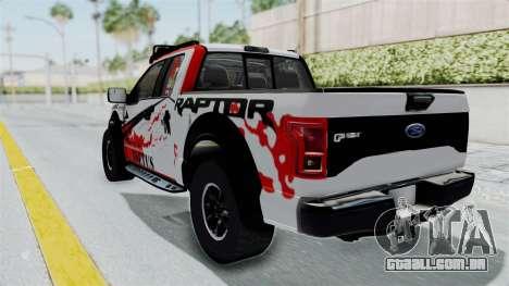 Ford F-150 Raptor 2015 para GTA San Andreas traseira esquerda vista