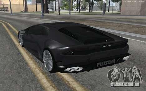 Lamborghini Huracan para GTA San Andreas traseira esquerda vista