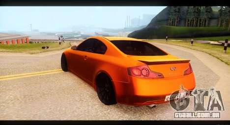 Infiniti G35 para GTA San Andreas traseira esquerda vista