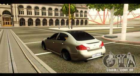 Infiniti G37 para GTA San Andreas traseira esquerda vista