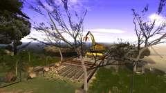A construção da ponte, e uma densa floresta
