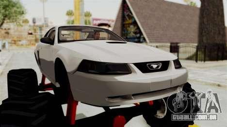 Ford Mustang 1999 Monster Truck para GTA San Andreas vista traseira