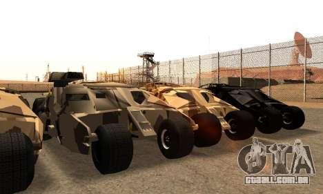Army Tumbler Gun Tower from TDKR para GTA San Andreas vista inferior