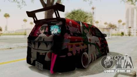 Toyota Vellfire Hatsune Miku Senbonzakura Itasha para GTA San Andreas traseira esquerda vista