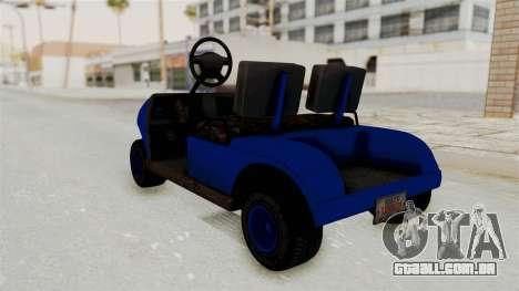 GTA 5 Gambler Caddy Golf Cart IVF para GTA San Andreas traseira esquerda vista