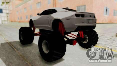 Chevrolet Camaro SS 2010 Monster Truck para GTA San Andreas traseira esquerda vista