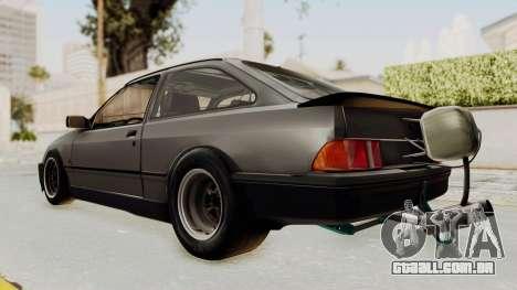Ford Sierra Mk1 Drag Version para GTA San Andreas traseira esquerda vista