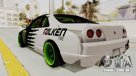 Nissan Skyline R33 Drift Monster Energy Falken para GTA San Andreas esquerda vista