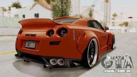 Nissan GT-R R35 Liberty Walk LB Performance para GTA San Andreas traseira esquerda vista