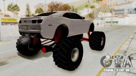 Chevrolet Camaro SS 2010 Monster Truck para GTA San Andreas esquerda vista